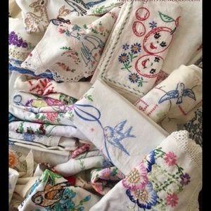Handmade Vintage Embroidered linens Animals